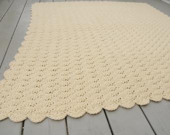 Mid Century Crocheted Afghan Throw Cream