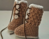 Crochet baby boots pattern, crochet baby shoes, Asher boots - 0-3, 3-6 and 6-12 months