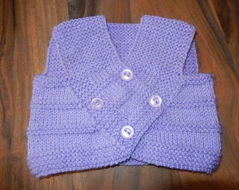 cute hand knitted baby sleeveless cardigan, vest, sweater lilac newborn