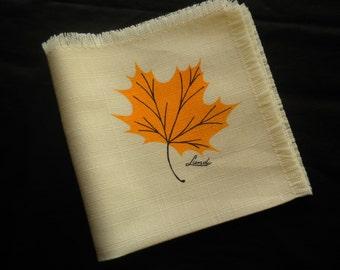 """Vintage 70s Ruth Lund Maple Leaf Hankie Handkerchiefs 11"""" Square"""