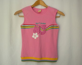 Vintage 90s Pink Sleeveless T Shirt West Beach Sporty Summer Surfer Tank Top Small