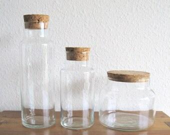Glass Jars with Cork Lids-Set of 3