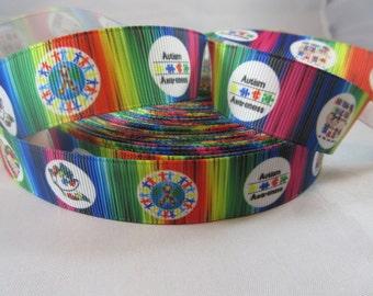 "Autism awareness, puzzle ribbon, rainbow puzzle, Autism Awareness ribbon, 7/8"" Ribbon, Grosgrain Ribbon, puzzle awareness ribbon, RN17009"