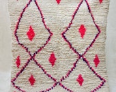 "TODAY is A GOOD DAY 5' x 4'2"" Boucherouite Rug. Tapis Moroccan. Mid Century Modern Danish Design Compliment."