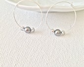 Gray Pearl Silver Hoops, Delicate Elegant Earrings, Minimal Wedding
