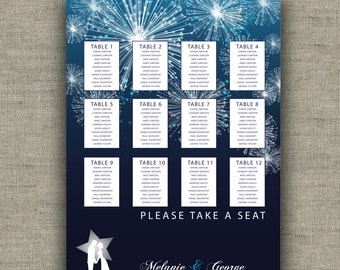Printable Wedding seating chart - fireworks in the sky  - bride and groom silhouette - personalized wedding seats - evening reception sign -