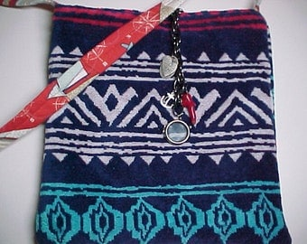 "Crossbody Bag  Reversible ""SAILING""  Washable  Sling Purse with Keychain / Bagcharms"