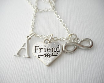 Infinity, Friend- Initial Necklace/ Love, Gift for her, teen, Gift Ideas, Birthday Gift, bff jewelry, Personalized Friend, gift for bff