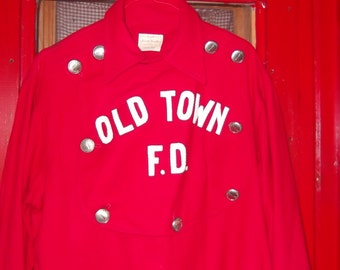 Vintage Fireman uniform from 40s-50s excellent condition, red wool, fireman buttons, fireman plaque front of shirt with Old Town FD