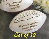 HUGE SALE Set of 12 Personalized  Football, Ring Bearer Gift, Groomsmen Gift, Best Man Gift, Wedding Gift,