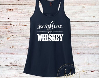 Country Shirt/Beach Shirt/Sunshine & Whiskey Tank/Country Concert Shirt/Women's Tank/Racer Back Tank