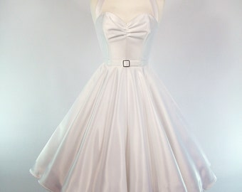 Made To Measure White Duchess Satin Full Circle Skirt Wedding Dress - Detachable Straps & Belt
