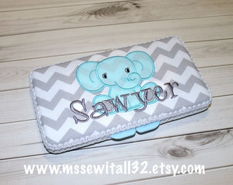 Gray Chevron with Elephant Applique Personalized Diaper Wipes Case