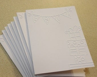 Birthday celebration card set, eight embossed birthday cards, happy birthday, birthday card, birthday set, embossed birthday card set