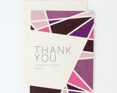 Colorful Wedding Thank You Cards - Bright Modern Geometric – Multi-Colored Purple Thank You Card (Amy Suite)