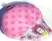 microwavable herbal heating pad, pink, lavender, polka dot heat pack, aromatherapy, Cramp Cake, Elizabeth 16th century selfie in plum