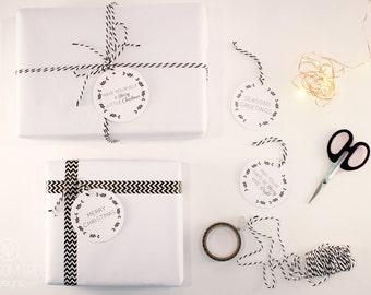 Christmas Tags: Set of 8 tags. Black and White gift tags.