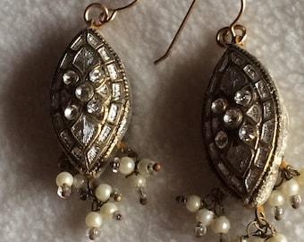 Vintage White & Gold Earrings for Pierced Ears