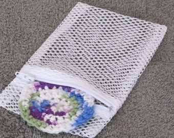 Washing Machine Bag for Laundering Makeup Sponges and Reusable Face Scrubbies - Small Zippered Mesh Laundry Bag