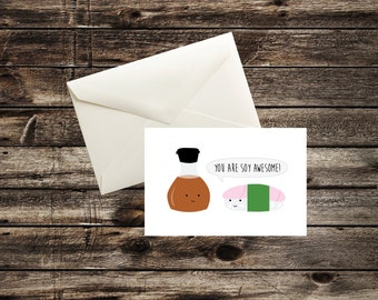 12pk -  Sushi - You're Soy Awesome ! Fun - Thank you / Blank Cards