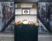 Black and Gray Solid Wood Hutch
