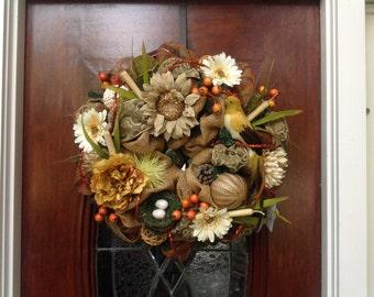 Feathery Bird Burlap and Mesh Wreath