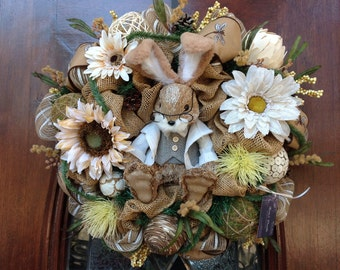 Neutral Easter Bunny Burlap and Mesh Wreath