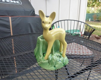 U S A Pottery Shawnee Deer Planter  Retro Yellow and Green 7 3/4  Inches Tall