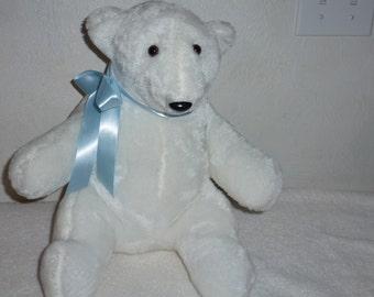 Polar Bear Fur Stuffed Bear Handmade Bear with Blue Bow