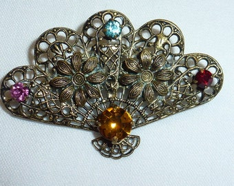Vintage Brooch Pin with Colorful Rhinestones and  Flowers  Filagree Fan Design