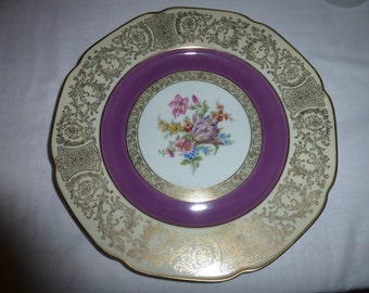 VINTAGE Bavarian Tirschenreuth Germany US Zone Plate with Beautiful Floral Bouquet
