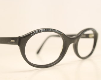 Rhinestone Black Cat Eye Eyeglasses Vintage Eyewear Retro Glasses Cat Eye Frames