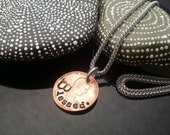 Blessed hand stamped lucky penny necklace on stainless steel chain by D2E Gallery