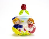 Vintage Lefton Dutch Boy Girl Jam Jar, Sugar Bowl, Spring Flowers, Dutch Boy and Girl, Tulips, Holland, 1960s Lefton Kitsch, Epsteam