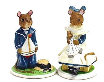 Vintage Mouse Figurines, A Mouse Family Album, Unique Cake Topper,  Rupert, Lucinda, Victorian, Franklin Mint Mice,  Pamela Sampson, Epsteam