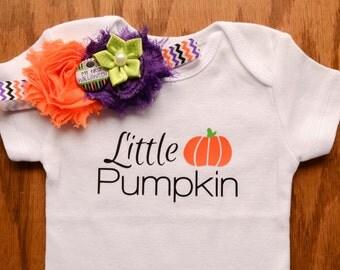 """Size 3 Months READY TO SHIP! Little Pumpkin Onesie and Headband - Halloween Onesie Set - """"My First Halloween"""" Headband - Halloween Headband"""