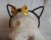 Cat Ear Headband - Fluffy Black Headband - Metal Headband - Headband w Sparkling Bow - Cat Costume Headband - Pretend Headband - Girly Girl