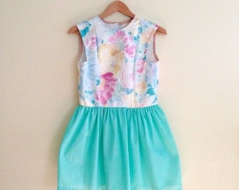 Vintage Mint Green with Pink & Yellow Floral Full Skirted Mini Babydoll Dress // Pastel Party Dress // Dolly Dress