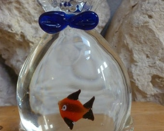 Glass Art Paperweight fish in a bag with blue bow