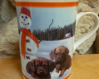 Dachsund dog mug Frosty Friends Darling Dachshunds by The Danbury Mint