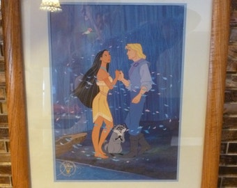 Pocahontas and John Smith framed lithograph 1995 Disney Store