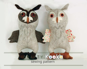 Owl stuffed animal pattern,  pdf sewing pattern, owl toy sewing pattern tutorials, owl sewing pattern - instant download pdf pattern