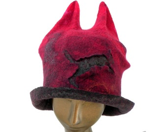 Red Hat with Ears and Dancing Cats made of Felted Merino Wool