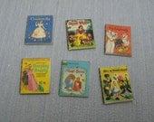 Gaël Miniature decorative 6 nursery classic disney child books, vintage books  1:12 Scale Or 1/6 Scale Dollhouse Miniature playscale