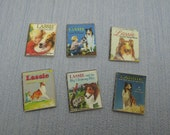 Gaël Miniature decorative 6 shabby chic Lassie dog child books, vintage books  1:12 Scale Or 1/6 Scale Dollhouse Miniature playscale