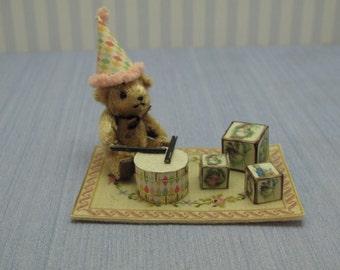 Gaël Miniature  Vintage Games carpet toys rug teddy bear Dollhouse Miniature child game Accessory toy, Handmade