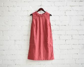 Linen Sleeveless Dress Ribbon SHIPPING WORLDWIDE Spring Summer Autumn dress Stylish Prewashed Softened all sizes custom size PINK