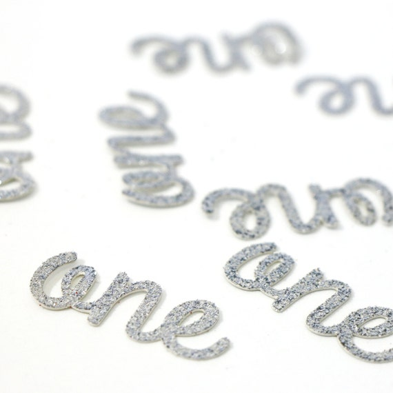 One Die Cuts - 25 Pieces - Silver Glitter - 1.5 inch. First Birthday. Gold Confetti. Birthday Party. 1st Birthday. Highchair Decorations.