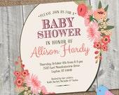 BABY Shower Invitation, DIY Printable, Personalized Bridal or Baby Shower Invite, Custom Colors #BabyShower #BridalShower #watercolorflowers