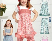 Sewing Pattern Kwik Sew 3673 - Girls' Dresses, Pants & Hat - Sizes 4-5-6-7-8 - Girls Pullover empire waist sun dress - Elastic Waist Pants